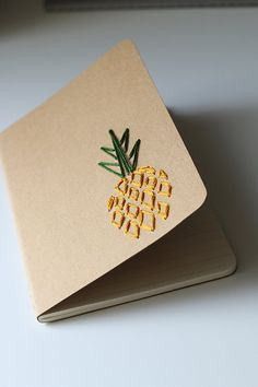 DIY Pineapple- hand embroidered moleskine pocket notebook *LINED* Notebook Diy, Pocket Notebook, Notebook Covers, Handmade Notebook, Diy Embroidered Notebook, Stationary Notebook, Notebook Design, Moleskine, Cute Notebooks