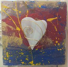 """""""Cuore Bianco"""" quadretto in legno , pittura acrilica, vetro e rame cm, 20x20"""