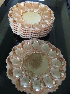 Egg plates Fire King peach lustre #fireking #vintagefireking #peachlustre #eggplate #vintagedish