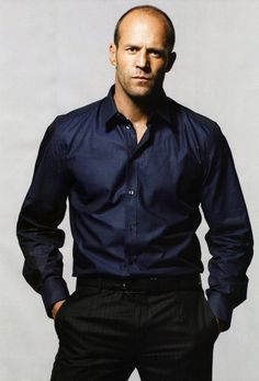"""Jason Statham in Blue Shirt: Some men just don't wear a suit well. Jason is a good example of setting realistic expectations. It works for his look and it shows respect for this is as """"formal"""" he can be without looking well - freakish. Jason Statham, Dwayne Johnson, Actrices Sexy, Michelle Rodriguez, Kelly Brook, Hommes Sexy, Rosie Huntington Whiteley, The Expendables, Sylvester Stallone"""