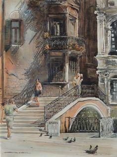 Tu recepcja — Watercolors by Sergiy Lysyy (lisbor) Perspective Art, Great Paintings, Boxer Dogs, Urban Art, Watercolor Art, Modern Art, Art Photography, Illustration Art, Drawings