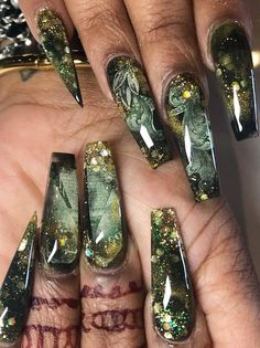 Top awesome coffin nails designs 2019 you must try 42 Fabulous Nails, Perfect Nails, Gorgeous Nails, Pretty Nails, Nail Swag, Cute Nail Designs, Acrylic Nail Designs, Art Designs, Awesome Designs
