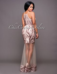 Chic Couture Online - Sharapova Blush Rose Gold Sequins Mesh Accent Dress.(http://www.chiccoutureonline.com/sharapova-blush-rose-gold-sequins-mesh-accent-dress/)