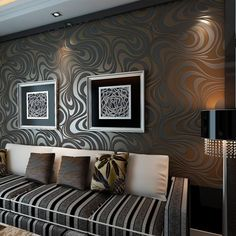 QIHANG Modern Luxury Abstract Curve Wallpaper Roll Mural Papel De Parede Flocking for Striped Black&brown Color Qh-wallpaper 3d Wallpaper Roll, Flock Wallpaper, 3d Wallpaper For Bedroom, Gold Wallpaper, Wallpaper Murals, Stripe Wallpaper, Geometric Wallpaper, Print Wallpaper, Textured Wallpaper