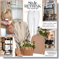 A fashion look from February 2016 featuring camel turtleneck, pink poncho and white jean leggings. Browse and shop related looks.