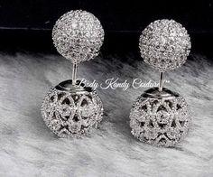 Filigree ball ear jacket,filigree earring,ball earrings bridal,diamond lace earrings,vintage ear jackets earring,front back earrings