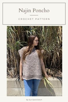 Looking for the perfect fall garment? This beginner-friendly crochet poncho is it! It is great as a first garment pattern for new crocheters. This poncho is made in 2 pieces and seamed together. This design features double crochet and granny stripe.