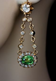 Vintage Russian Demantoid and Diamond Dangling Earrings, made in St. Petersburg 1908-1917