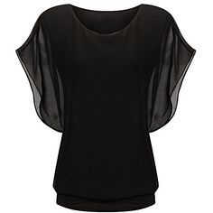 Froomer Office Lady Asymmetric Bat Sleeve Chiffon Shirt Casual Blouse Tops Shirt XLUS1012UK1214EU4042 Black Regular Sleeve -- Check this awesome product by going to the link at the image.Note:It is affiliate link to Amazon.