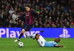 Lionel Messi of Barcelona skips past Fernandinho of Manchester City during the UEFA Champions League Round of 16 second leg match between Barcelona and Manchester City at Camp Nou on March 18, 2015 in Barcelona, Catalonia.
