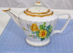 Original Napco China Hand Painted Teapot - SD170 - 4cup, Yellow Flowers,Gold Rim #Napco