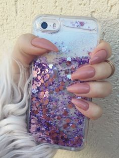 Nude coffin nails, glitter iphone case
