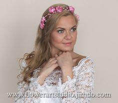 Diademe - Hochzeit Blumenkrone, Rosa Braut Blumenkranz. - ein Designerstück von FlowerArtStudio bei DaWanda
