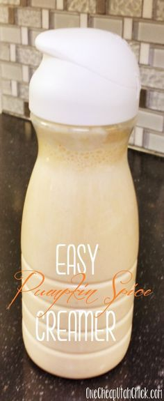 Super easy, delicious pumpkin spice coffee creamer. Just three ingredients!
