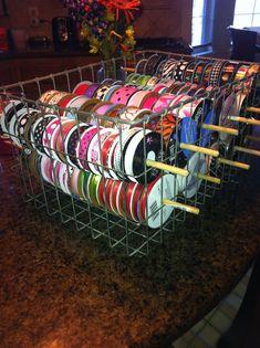 Ribbon Storage....wire basket and dowels #Ribbonstorageideas