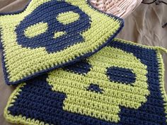 Denim Blue and Lime Green Skull Potholders $24.99 C2c, Potholders, Blue Denim, Lime, Skull, Blanket, Crochet, Green, Products