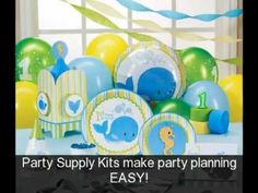 Whale baby shower theme - what a cute idea for a boys baby shower! Video shows a whole bunch of different matching party supplies to inspire your party decorating.