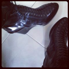 My shoes ... Givenchy calf leather lace-up wedge ankle boots