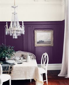 Wainscoting painted in plum shade and white paint on upper third and ceiling