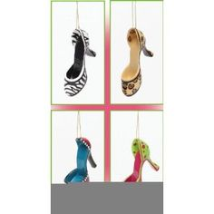 Shoe ornament gifts...  Resin High Heel Shoe Ornaments 4 Assorted