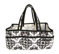 Add organization to any area of your home with this Versailles Black & White portable Storage Caddy by Trend Lab. This lightly padded caddy features a black and white damask print outside with a coord