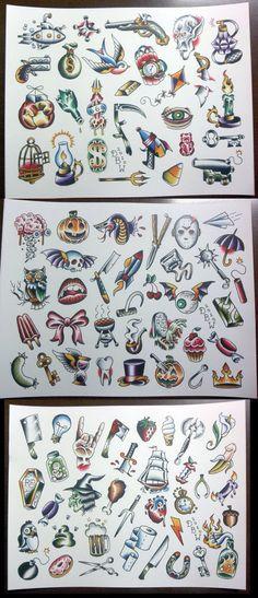 3 Pc Pork Chop Sheet set: Neo-Traditional Tattoo Flash Set - Carry ON Traditional Sleeve, Traditional Tattoo Filler, Traditional Tattoo Flash, Traditional Tattoo Halloween, American Traditional Tattoos, Traditional Ideas, Trendy Tattoos, New Tattoos, Body Art Tattoos