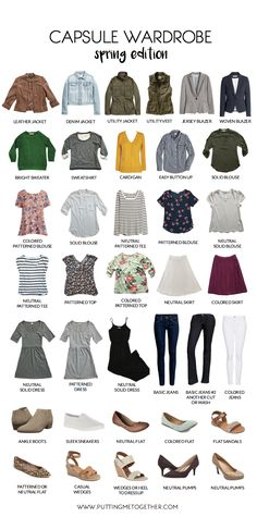 Putting Me Together: Spring Capsule Sample Wardrobe Minimalist Wardrobe, Minimalist Fashion, Summer Minimalist, Capsule Wardrobe 2018, Capsule Wardrobe Examples, Putting Me Together, Moda Casual, Fashion Capsule, Wardrobes