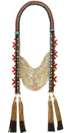 Indian Summer Necklace by Iosseliani Textile Jewelry, Fabric Jewelry, Tribal Jewelry, Jewelry Art, Fashion Jewelry, Jewelry Design, Unique Jewelry, Textiles, Beaded Earrings