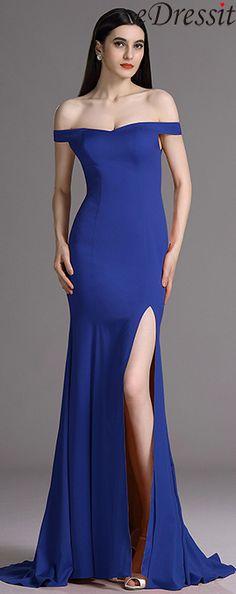 eDressit Royal Blue Off Shoulder High Slit Formal Dress