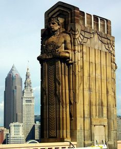 Art Deco bridge tower, Cleveland, Ohio, Guardians of Traffic by Erik Daniel Drost