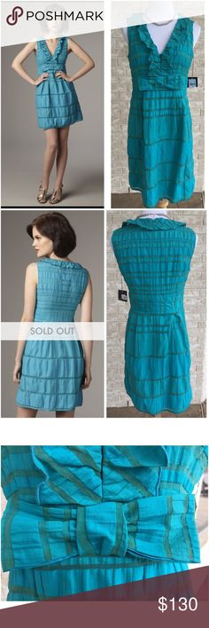 "Gorgeous NWT! Nanette Lepore Lovers Leap Dress This New With Tag, SOLD OUT dress is stunning! Zips up the back. Fully lined. Hook and Eye closures above the bow. Length is approx 37"". UA-UA approx 18"". Color is considered 'Blue Raspberry'. 010917175ft Nanette Lepore Dresses"