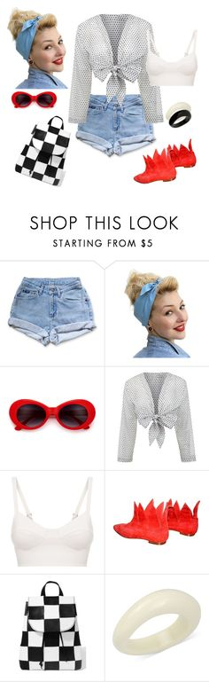 """""""outfit 6572"""" by natalyag ❤ liked on Polyvore featuring Levi's, Lisa Marie Fernandez, La Perla, Manolo Blahnik, American Vintage and INC International Concepts"""