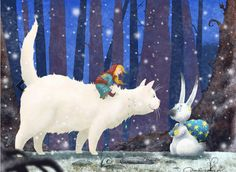 Девочка и Белая кошка. Авторские  работы Дмитрия Резчикова (Dim Rezchikov).