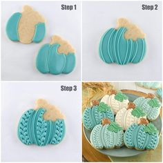 I'd do it in orange instead of teal. Fall Decorated Cookies, Fall Cookies, Cute Cookies, Cupcake Cookies, Cupcakes, Iced Sugar Cookies, Royal Icing Cookies, Halloween Baking, Halloween Cookies