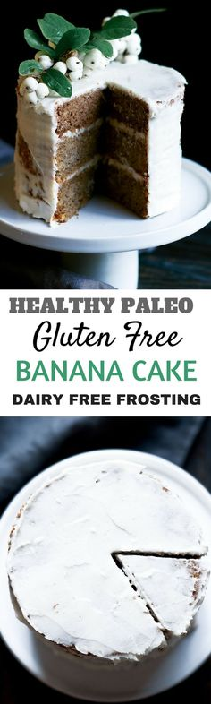 Healthy gluten free paleo banana cake. Moist delicious easy to make. Healthy cake desserts and beautiful food photogrpahy.