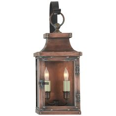 Bedford Small Scroll Arm Lantern in Natural Copp