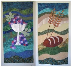 Wine and Bread communion banners that I made for our church...by Janet Beyea