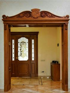 Benefits that you could derive by using the interior wood doors for your home or office. Wooden Arch, Wooden Door Design, Main Door Design, Front Door Design, Wooden Decor, Pooja Room Design, Arched Doors, Internal Doors, Entry Doors