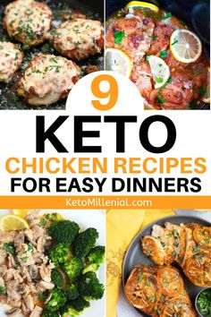 Easy low carb chicken dinners and quick keto chicken recipe ideas to try TONIGHT. If you're sick of having the same boring dinners day-after-day try these new and exciting ketogenic dinner recipes such as keto slow cooker chicken breast with garlic and lemon and creamy keto chicken thighs. Chicken Breast Recipes Dinners, Keto Chicken Thigh Recipes, Chicken Fajita Recipe, Keto Crockpot Recipes, Easy Chicken Recipes, Low Carb Dinner Recipes, Keto Dinner, Lunch Recipes, Chicken Thighs