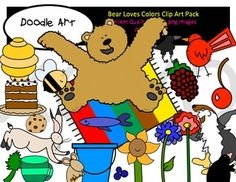 This Bear Loves Color Clipart collection includes all the images shown in the sample picture and more. This group is a parody of the book - Bear Sees Colors. This pack includes 44 different clips:* Black line masters of almost all clips* Bear * Hare hopping around* Badger with rain boots* Mouse* Mole* Gopher* Raven* Wren* Red bird* Raspberry* Cherry* Poppy* Blue flower* Blue bucket* Blueberry* Green mug* Mint* Sunflower* Beehive* Bee* Chocolate cake* Chocolate chip cookie* so much…