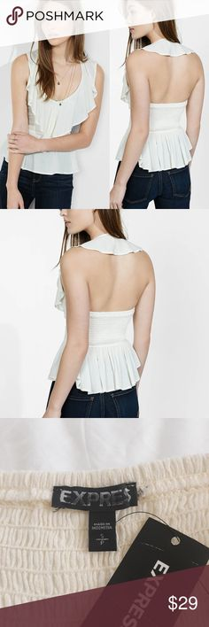 """Express Blouse small  Ruffle Halter Top B2 New with tags Beautiful  Express Ruffle Front Halter Top Blouse Sz Small  Measurements (Approximate) Chest:17"""" Long:24"""" Neck to hem  Material:100% rayon Express Tops Blouses"""
