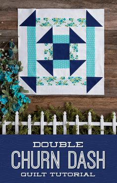 DIY quilting tutorial is double the churn dash and double the fun! Watch Jenny teach us how to create the easy Double Churn Dash Quilt in her newest free quilting tutorial! Missouri Quilt Tutorials, Quilting Tutorials, Quilting Projects, Diy Quilting, Msqc Tutorials, Quilting Ideas, Quilt Blocks Easy, Modern Quilt Blocks, Quilt Baby