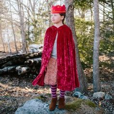 Child's Red Velvet Cape With Hood. Become a king or queen, a dwarf or a gnome, a Red Knight, or Little Red Riding Hood! Beautifully made in the USA. $54.95