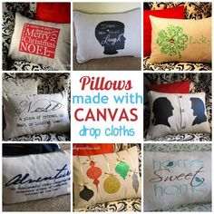 DIY Home Decor | Do you love pretty pillows but hate spending money on them? Make pillows for every season out of canvas drop cloth! | #Ad