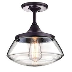 CLAXY® Ecopower Vintage Metal & Glass Ceiling Light 1-lights Pendant Lighting Chandelier