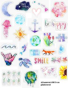 Water Color Stickers - Laptop - Ideas of Laptop - water color sticker pack spring paint art melting mixing ombre painting water color art turtle happy life sunflower flowers earth anchor retro vintage sticker pack overlays edits hydroflask stickers Homemade Stickers, Diy Stickers, Printable Stickers, Bedroom Stickers, Tumblr Stickers, Phone Stickers, Vintage Sticker, Iphone Wallpaper Vsco, Laptop Wallpaper