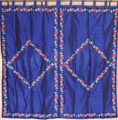 """Embroidered Floral Luxury Blue Curtains - 2 Dupioni Indian Window Treatments Panels 82"""""""