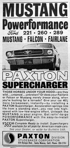 Bucking for a tornado… 1964 Paxton supercharger ad