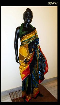 Beautiful Hand-painted saree in multicolor – Panache Haute Couture