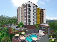 Vista posterior del condominio, área social y piscina.